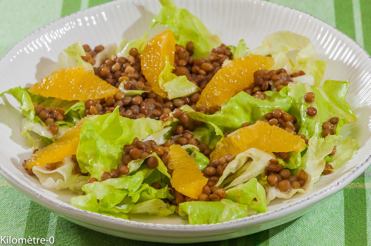 Photo de recette de salade, lentilles, orange, bio de Kilomètre-0, blog de cuisine réalisée à partir de produits locaux et issus de circuits courts