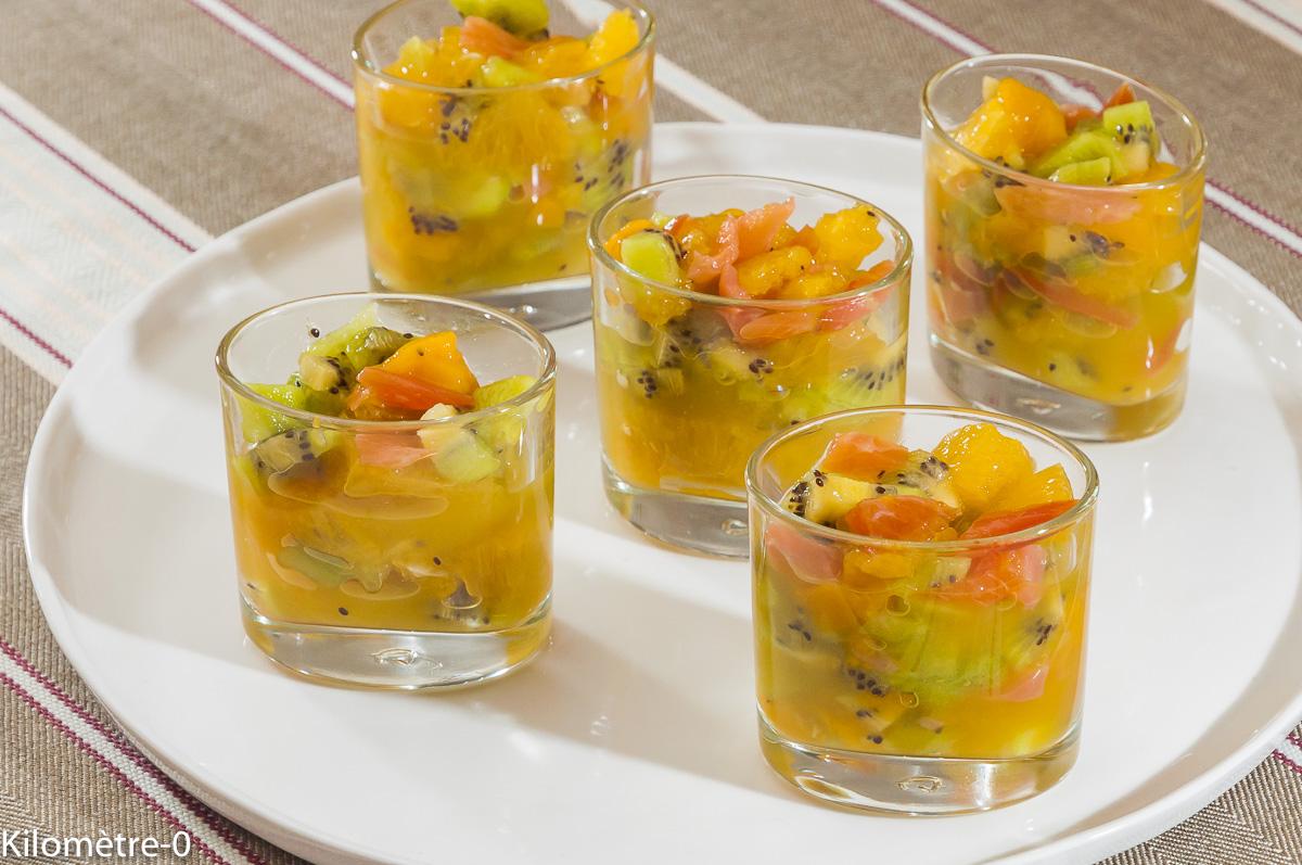 Photo de recette d'apéro, fruits, kiwi, mangue, orange, saumon fumé, truite fumé de  Kilomètre-0, blog de cuisine réalisée à partir de produits locaux et issus de circuits courts