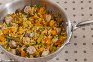 Photo de recette de poelée blén saucisse, légumes de Kilomètre-0, blog de cuisine réalisée à partir de produits locaux et issus de circuits courts