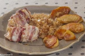 Photo de recette de lotte, pomme, oignons de Kilomètre-0, blog de cuisine réalisée à partir de produits locaux et issus de circuits courts