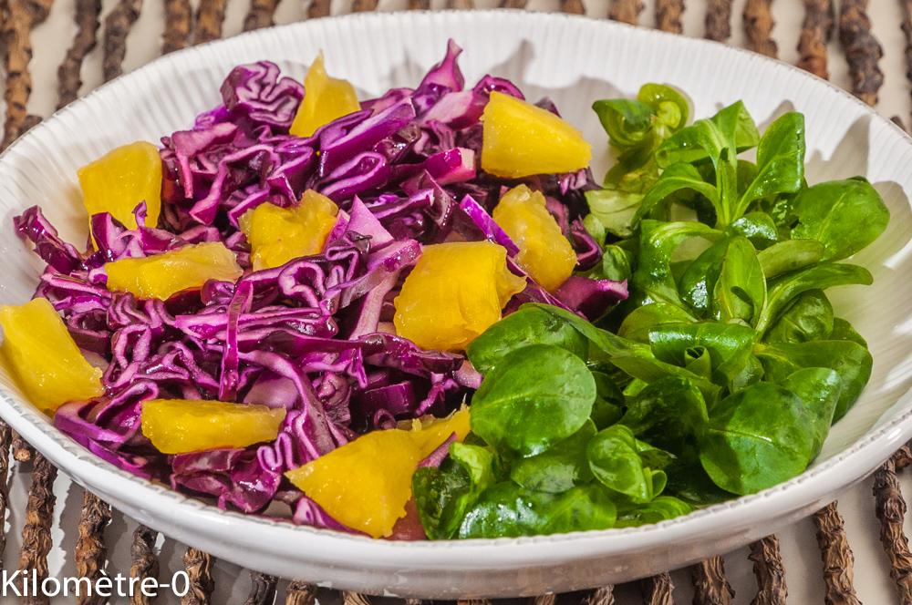 Photo de recette végétarienne, heathy, de salade chou rouge, mâche, ananas de Kilomètre-0, blog de cuisine réalisée à partir de produits locaux et issus de circuits courts