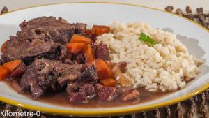 Photo de recette de joue de boeuf, carotte, riz, vin rouge de Kilomètre-0, blog de cuisine réalisée à partir de produits locaux et issus de circuits courts
