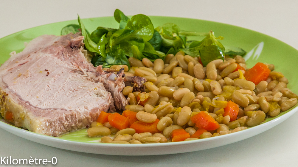 Photo de recette de longe de porc, échine, flageolets, carotte, bio, facile de Kilomètre-0, blog de cuisine réalisée à partir de produits locaux et issus de circuits courts