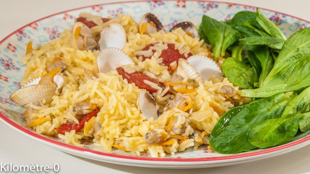 Photo de recette de riz, coques, chorizo, facile, safran de Kilomètre-0, blog de cuisine réalisée à partir de produits locaux et issus de circuits courts