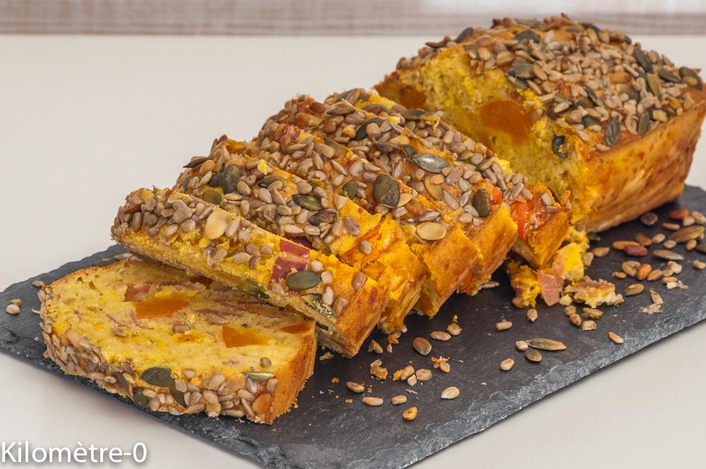 Photo de recette de  cake, jambon, potimarron, graines, bio de Kilomètre-0, blog de cuisine réalisée à partir de produits locaux et issus de circuits courts