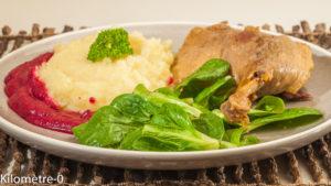 Photo de recette de confit de canard, betterave, purée céleri, facile, très bon de  Kilomètre-0, blog de cuisine réalisée à partir de produits locaux et issus de circuits courts