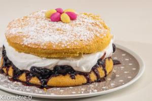 Photo de recette de gâteau Victoria, facile, cerise, citron, chantilly maison de Kilomètre-0, blog de cuisine réalisée à partir de produits locaux et issus de circuits courts