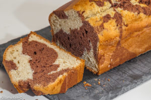 Photo de recette de gâteau du matin, marbré, chocolat, facile, rapide, bio de Kilomètre-0, blog de cuisine réalisée à partir de produits locaux et issus de circuits courts