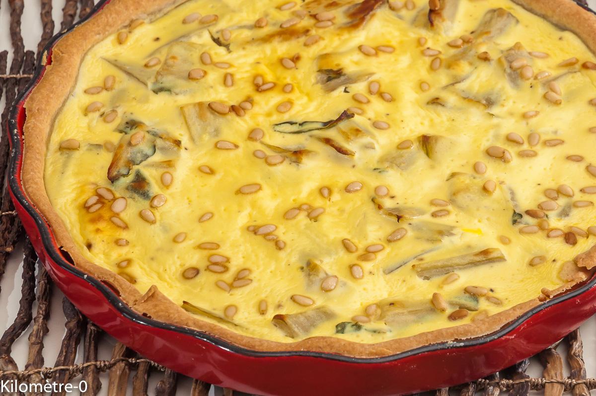Photo de recette de  tarte ricotta, blettes, italienne, pignons de pin, quiche, Kilomètre-0, blog de cuisine réalisée à partir de produits locaux et issus de circuits courts