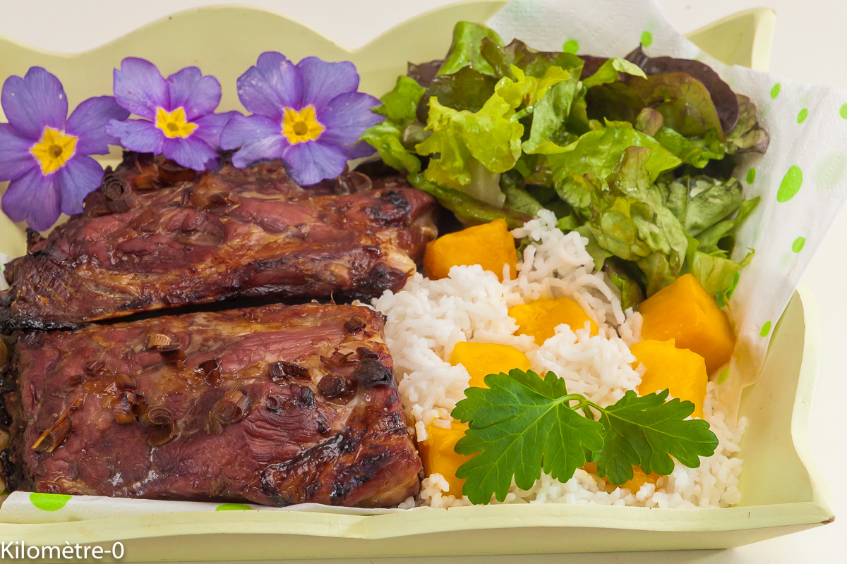 Photo de recette de travers de porc, mangue, riz, citronnelle, sauce soja, marinade de  Kilomètre-0, blog de cuisine réalisée à partir de produits locaux et issus de circuits courts