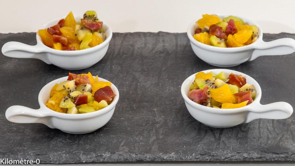 Photo de recette de bouchées apéro, fruits, kiwis, orange, caille, caille fumée, facile, rapide, léger de Kilomètre-0, blog de cuisine réalisée à partir de produits locaux et issus de circuits courts