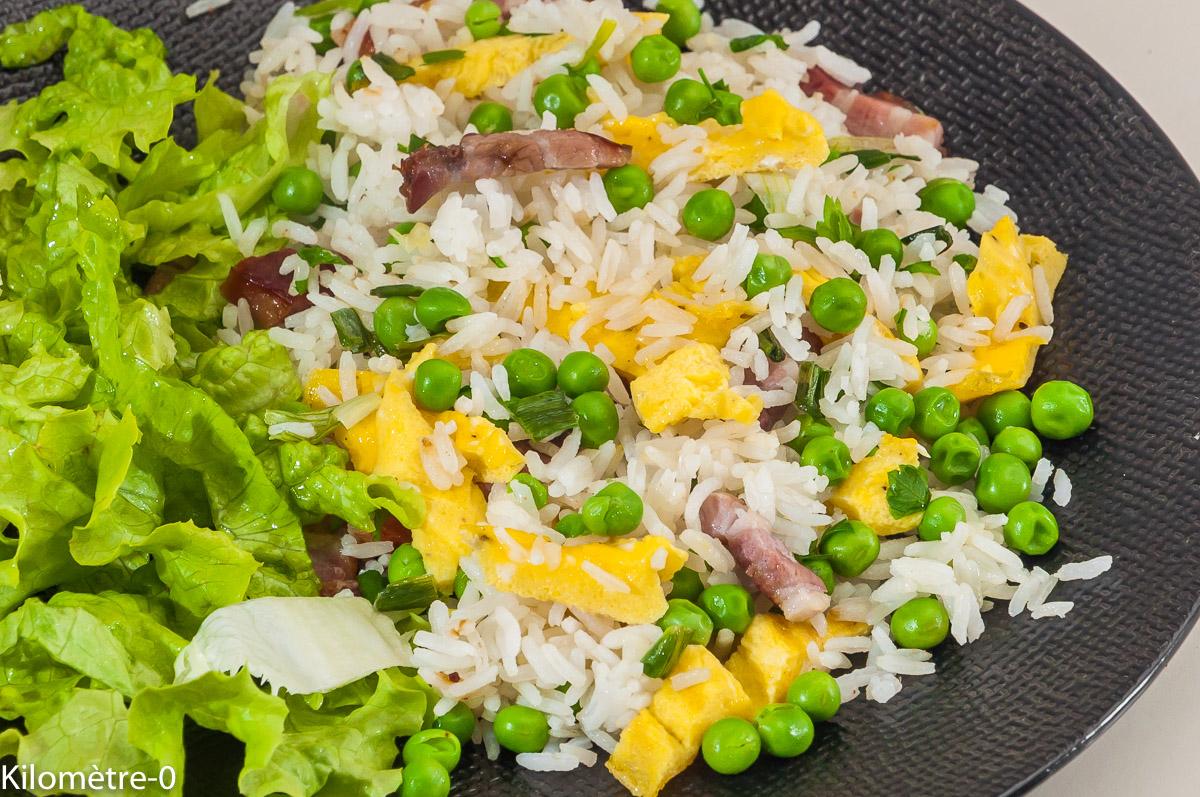 Photo de recette de riz cantonais, facile, bio, rapide de Kilomètre-0, blog de cuisine réalisée à partir de produits locaux et issus de circuits courts