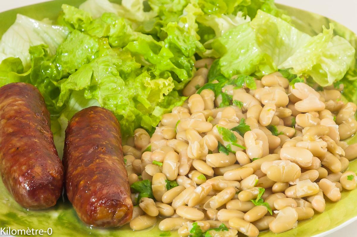 Photo de recette de saucisses confites, flageolets de Kilomètre-0, blog de cuisine réalisée à partir de produits locaux et issus de circuits courts