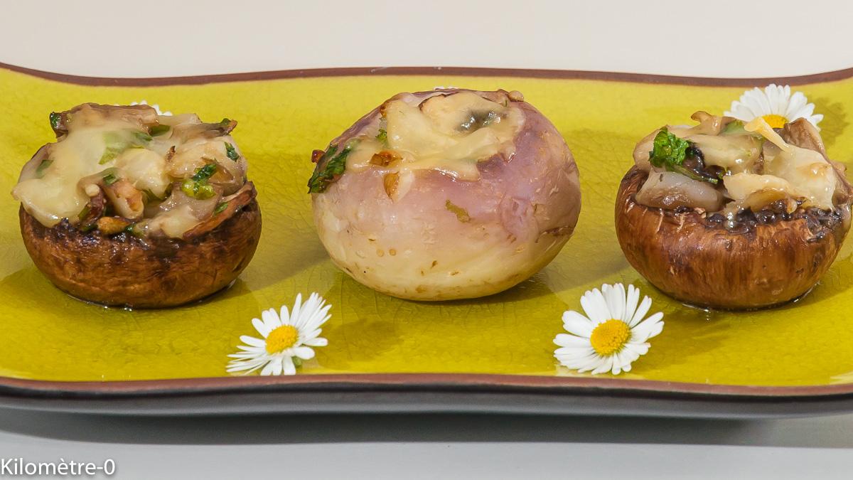 Photo de recette de légumes farcis, champignons, navets, printanières de Kilomètre-0, blog de cuisine réalisée à partir de produits locaux et issus de circuits courts
