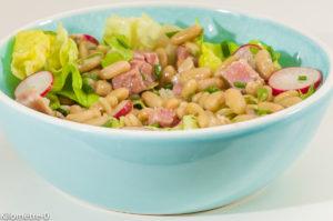 Photo de recette de salade flageolets, jambon, radis, facile, rapide, Kilomètre-0, blog de cuisine réalisée à partir de produits locaux et issus de circuits courts