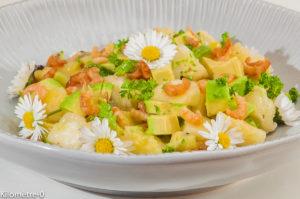 Photo de recette de salade, ananas, kiwi, avocat, crevettes grises, facile, rapide, healthy de Kilomètre-0, blog de cuisine réalisée à partir de produits locaux et issus de circuits courts
