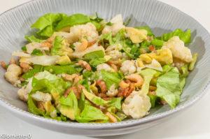 Photo de recette de chou fleur, avocat, crevettes grises, facile, salade, léger, rapide, printemps de  de Kilomètre-0, blog de cuisine réalisée à partir de produits locaux et issus de circuits courts