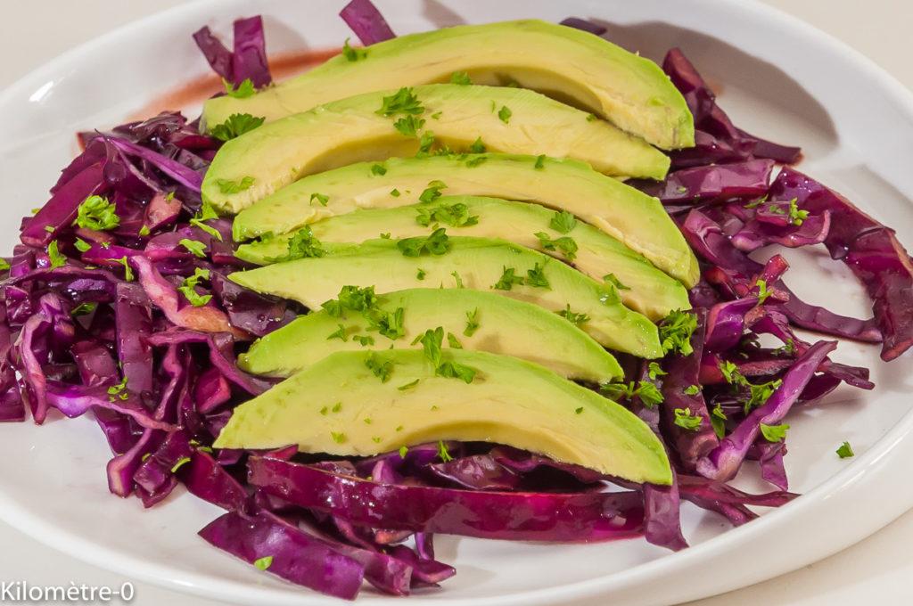 Photo de recette de salade de chou rouge, avocat, persil , facile, rapide, légère de Kilomètre-0, blog de cuisine réalisée à partir de produits locaux et issus de circuits courts
