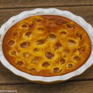 Photo de recette de clafoutis aux prunes de  Kilomètre-0, blog de cuisine réalisée à partir de produits locaux et issus de circuits courts