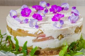 Photo de recette de cheesecake, spéculoos, yaourt grec, limoncello, rhubarbe deKilomètre-0, blog de cuisine réalisée à partir de produits locaux et issus de circuits courts