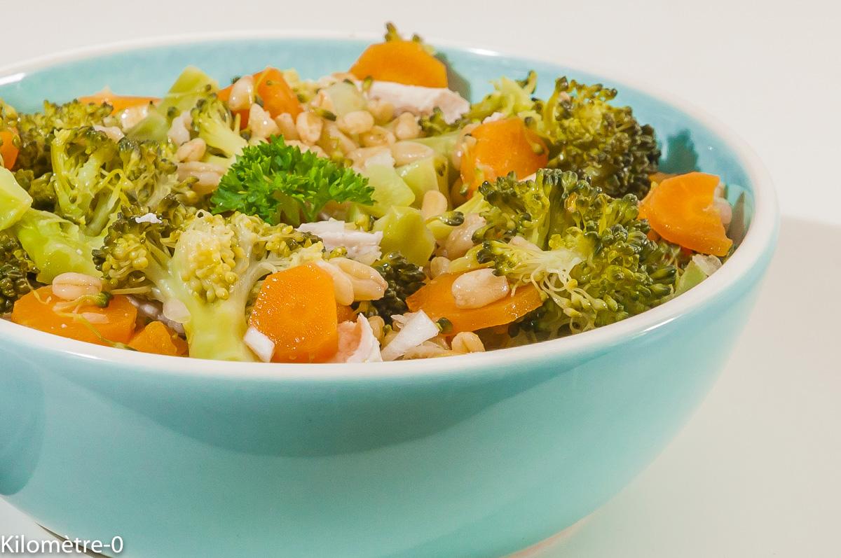 Photo de recette de  salade composée, végétarienne, carotte, brocolis, blé, facile, bio, rapide, healthy, de Kilomètre-0, blog de cuisine réalisée à partir de produits locaux et issus de circuits courts