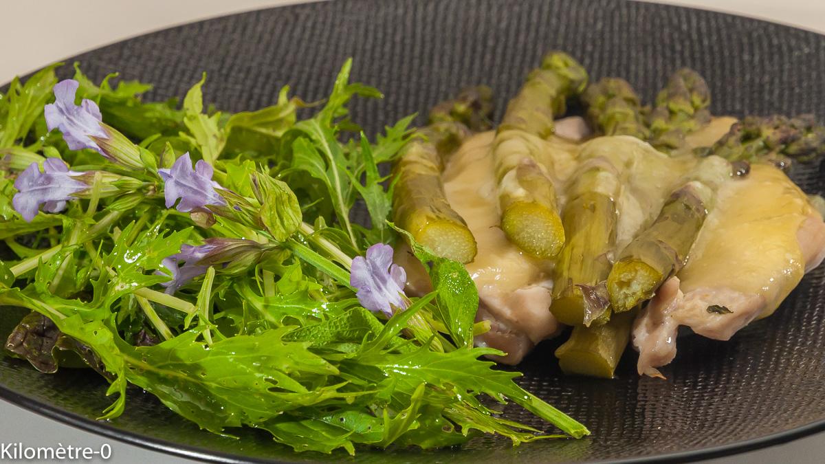 Photo de recette d'escalope de dinde, asperges vertes, raclette, facile, rapide, four vapeur de  Kilomètre-0, blog de cuisine réalisée à partir de produits locaux et issus de circuits courts
