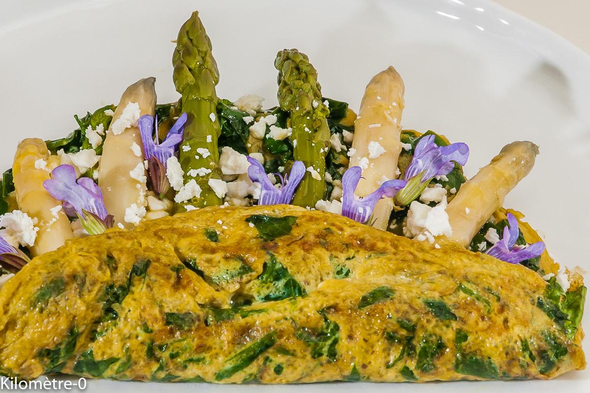 Photo de recette d'omelette aux asperges, épinards, légumes, sauge de  Kilomètre-0, blog de cuisine réalisée à partir de produits locaux et issus de circuits courts