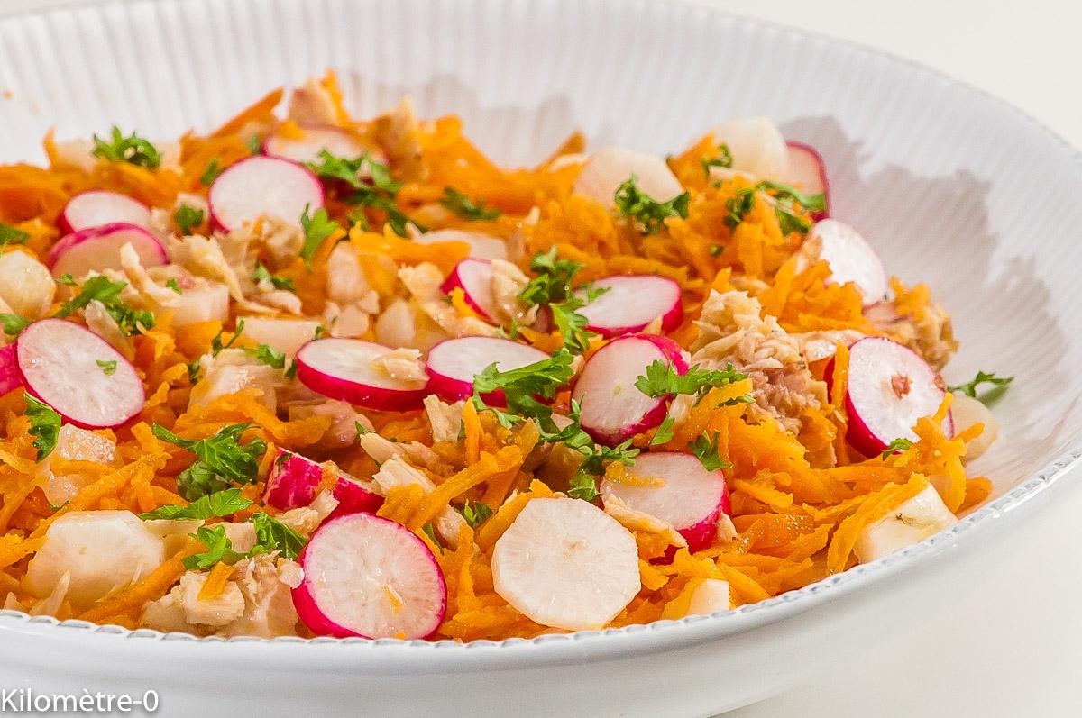 Photo de recette de salade facile, rapide, thon, carottes, simple, économique, pas chère, bio  de Kilomètre-0, blog de cuisine réalisée à partir de produits locaux et issus de circuits courts
