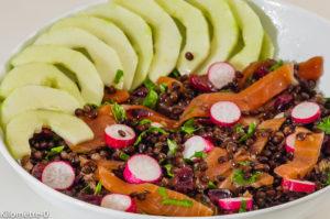 Photo de recette de salade de lentilles beluga, radis, concombre, canneberges, cranberries, saumon fumé, truite fumée de Kilomètre-0, blog de cuisine réalisée à partir de produits locaux et issus de circuits courts