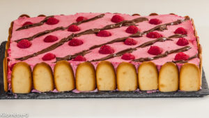Photo de recette d'entremets, mousse de framboise, gâteau, fête, anniversaire, fruits rouges de  Kilomètre-0, blog de cuisine réalisée à partir de produits locaux et issus de circuits courts