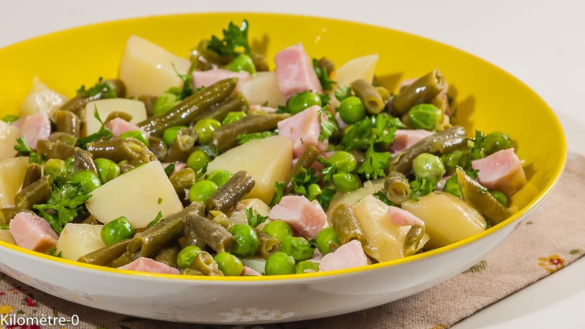 Photo de recette de salade, salade composée, four vapeur, petits pois, jambon, pomme de terre nouvelle, haricots de  Kilomètre-0, blog de cuisine réalisée à partir de produits locaux et issus de circuits courts