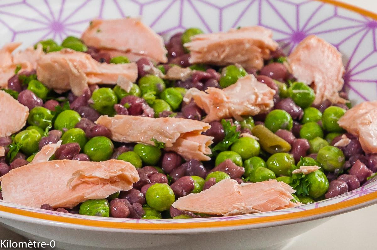 Photo de recette de salade composé, haricots azuki, petits pois, saumon, facile, légère, rapide de Kilomètre-0, blog de cuisine réalisée à partir de produits locaux et issus de circuits courts
