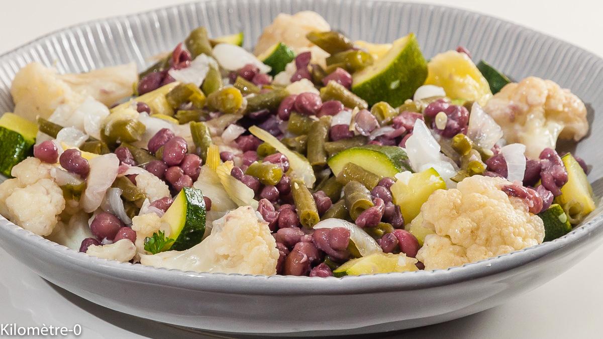 Photo de recette de salade, courgette, pomme de terre, haricots azuki, bio, facile, four vapeur de Kilomètre-0, blog de cuisine réalisée à partir de produits locaux et issus de circuits courts