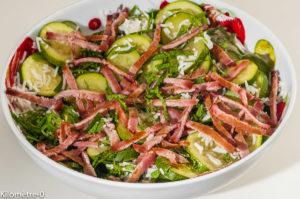 Photo de recette de salade de riz, courgettes, bacon, lardons, facile, économique, pas cher, bio de Kilomètre-0, blog de cuisine réalisée à partir de produits locaux et issus de circuits courts