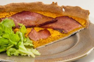 Photo de recette de tarte aux carottes et bacon, facile, légère de Kilomètre-0, blog de cuisine réalisée à partir de produits locaux et issus de circuits courts