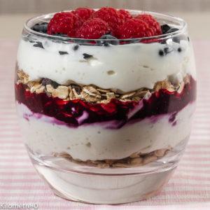 Photo de recette de verrine, yaourt, céréales, muesli, cassis, fruits rouges de Kilomètre-0, blog de cuisine réalisée à partir de produits locaux et issus de circuits courts