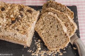 Photo de recette de pain au muesli, très facile et très rapide de Kilomètre-0, blog de cuisine réalisée à partir de produits locaux et issus de circuits courts