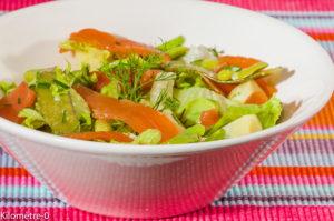 Photo de recette de salade composée, pomme de terre, saumon fumé, pois, haricots, facile, rapide de Kilomètre-0, blog de cuisine réalisée à partir de produits locaux et issus de circuits courts