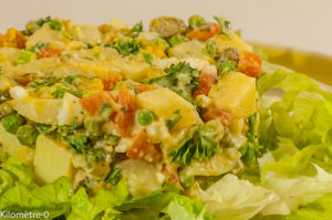 Photo de recette de salade polonaise , facile, pomme de terre, pois, carotte, four vapeur de de Kilomètre-0, blog de cuisine réalisée à partir de produits locaux et issus de circuits courts