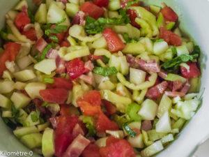 Photo de recette de salade légère de Kilomètre-0, blog de cuisine réalisée à partir de produits locaux et issus de circuits courts