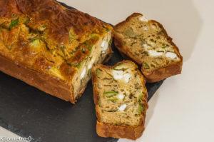 Photo de recette de cake salé végétarien, courgette, menthe, fêta de Kilomètre-0, blog de cuisine réalisée à partir de produits locaux et issus de circuits courts