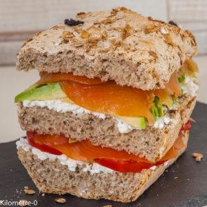 Photo de recette de pain rapide, facile, sandwich, céréales, muesli, saumon fumé, avocat de  Kilomètre-0, blog de cuisine réalisée à partir de produits locaux et issus de circuits courts