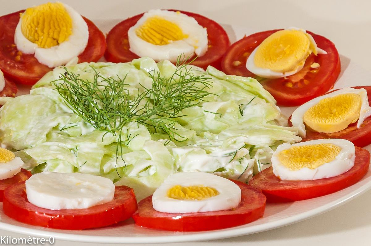 Photo de recette de salade de tomates, concombre, oeufs de Kilomètre-0, blog de cuisine réalisée à partir de produits locaux et issus de circuits courts