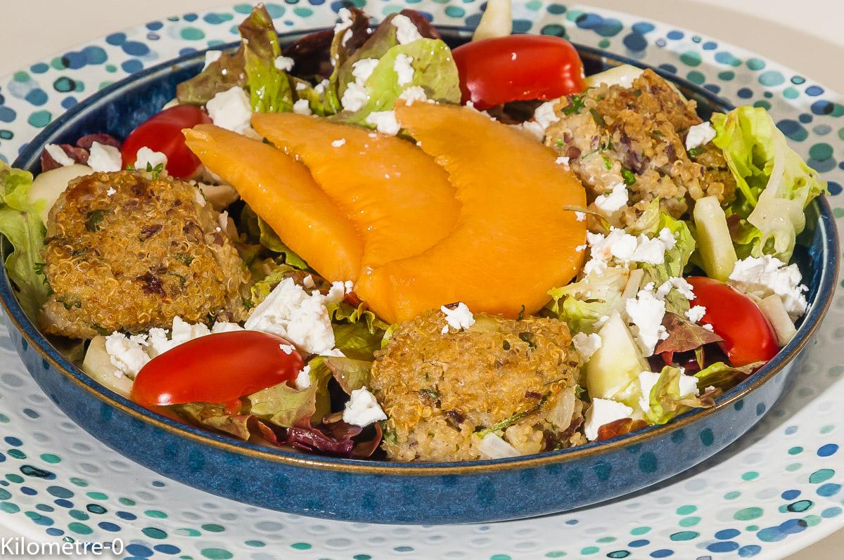 Photo de recette de polpette, polpettine, quinoa, melon, fêta, tomate de  Kilomètre-0, blog de cuisine réalisée à partir de produits locaux et issus de circuits courts