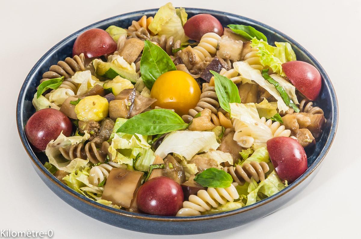 Photo de recette de salade de pâtes aux légumes, été, facile, bio de Kilomètre-0, blog de cuisine réalisée à partir de produits locaux et issus de circuits courts
