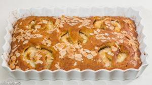 Photo de recette de gâteau du matin, cake, gâteau, amandes, pêches, facile, rapide, léger de Kilomètre-0, blog de cuisine réalisée à partir de produits locaux et issus de circuits courts