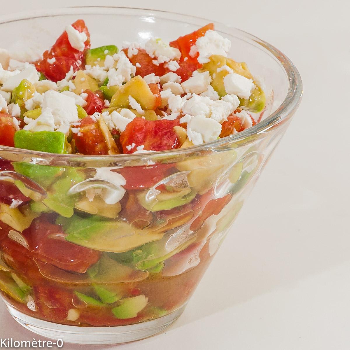 Photo de recette de verrine, salade, avocat, tomate, fêta, légère, facile, rapide, , été, Kilomètre-0, blog de cuisine réalisée à partir de produits locaux et issus de circuits courts