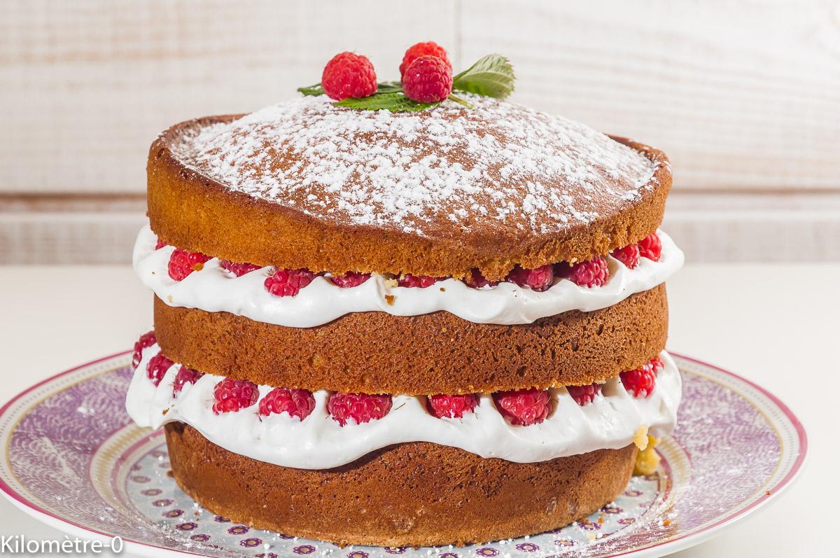 Photo de recette de gâteau, fruits rouges, chantilly, framboises, gourmand, anniversaire, léger, rapide, beau, original de Kilomètre-0, blog de cuisine réalisée à partir de produits locaux et issus de circuits courts