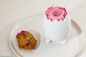Photo de recette de  glace à la framboise, madeleine facile de Kilomètre-0, blog de cuisine réalisée à partir de produits locaux et issus de circuits courts