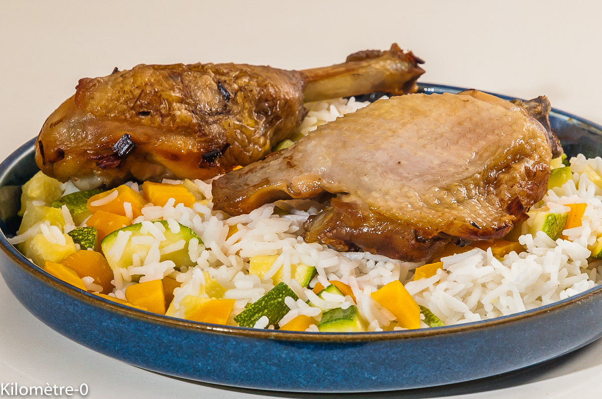 Photo de recette de poulet rôti, riz aux légumes, été, facile, léger de Kilomètre-0, blog de cuisine réalisée à partir de produits locaux et issus de circuits courts